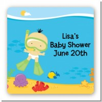 Under the Sea Asian Baby Snorkeling - Square Personalized Baby Shower Sticker Labels