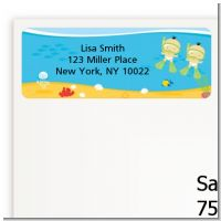 Under the Sea Asian Baby Twins Snorkeling - Baby Shower Return Address Labels