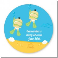 Under the Sea Asian Baby Twins Snorkeling - Round Personalized Baby Shower Sticker Labels