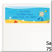 Under the Sea Baby Boy Snorkeling - Baby Shower Return Address Labels