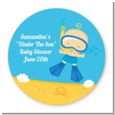 Under the Sea Baby Boy Snorkeling - Round Personalized Baby Shower Sticker Labels