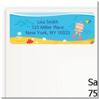 Under the Sea Baby Girl Snorkeling - Baby Shower Return Address Labels