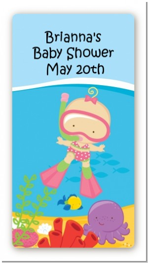 Under the Sea Baby Girl Snorkeling - Custom Rectangle Baby Shower Sticker/Labels
