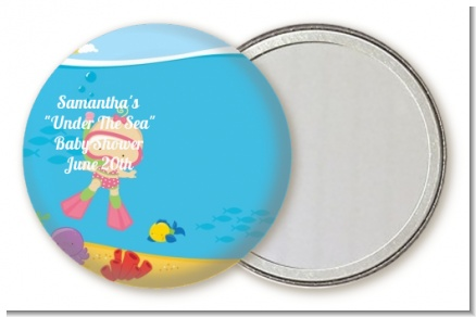Under the Sea Baby Girl Snorkeling - Personalized Baby Shower Pocket Mirror Favors
