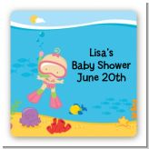 Under the Sea Baby Girl Snorkeling - Square Personalized Baby Shower Sticker Labels