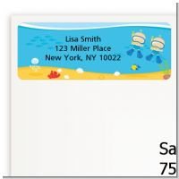 Under the Sea Baby Twin Boys Snorkeling - Baby Shower Return Address Labels