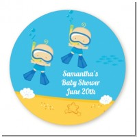Under the Sea Baby Twin Boys Snorkeling - Round Personalized Baby Shower Sticker Labels