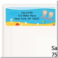 Under the Sea Baby Twin Girls Snorkeling - Baby Shower Return Address Labels