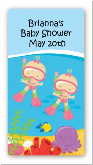 Under the Sea Baby Twin Girls Snorkeling - Custom Rectangle Baby Shower Sticker/Labels