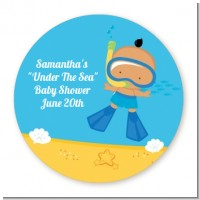 Under the Sea Hispanic Baby Boy Snorkeling - Round Personalized Baby Shower Sticker Labels