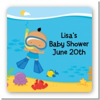 Under the Sea Hispanic Baby Boy Snorkeling - Square Personalized Baby Shower Sticker Labels