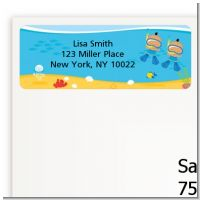 Under the Sea Hispanic Baby Boy Twins Snorkeling - Baby Shower Return Address Labels
