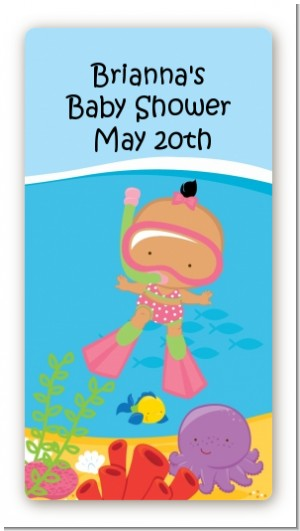 Under the Sea Hispanic Baby Girl Snorkeling - Custom Rectangle Baby Shower Sticker/Labels