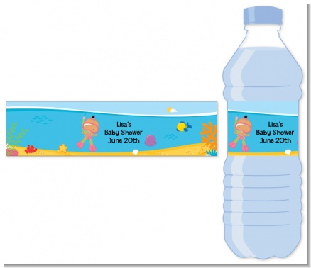 Under the Sea Hispanic Baby Girl Snorkeling - Personalized Baby Shower Water Bottle Labels