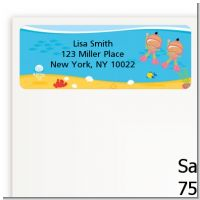 Under the Sea Hispanic Baby Girl Twins Snorkeling - Baby Shower Return Address Labels