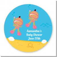 Under the Sea Hispanic Baby Girl Twins Snorkeling - Round Personalized Baby Shower Sticker Labels