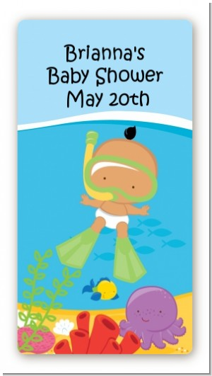 Under the Sea Hispanic Baby Snorkeling - Custom Rectangle Baby Shower Sticker/Labels