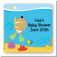 Under the Sea Hispanic Baby Snorkeling - Square Personalized Baby Shower Sticker Labels