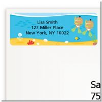 Under the Sea Hispanic Baby Twins Snorkeling - Baby Shower Return Address Labels
