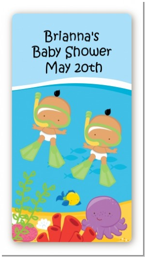 Under the Sea Hispanic Baby Twins Snorkeling - Custom Rectangle Baby Shower Sticker/Labels