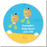 Under the Sea Hispanic Baby Twins Snorkeling - Round Personalized Baby Shower Sticker Labels