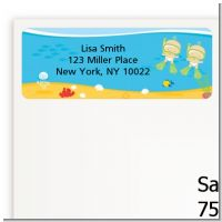 Under the Sea Twin Babies Snorkeling - Baby Shower Return Address Labels