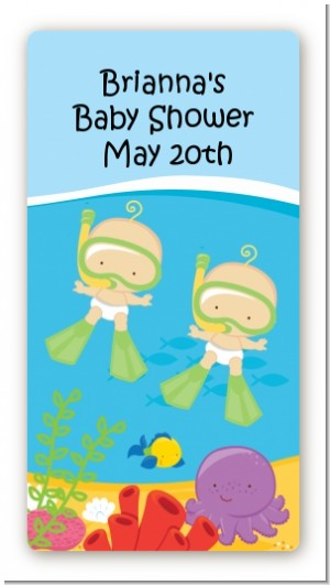 Under the Sea Twin Babies Snorkeling - Custom Rectangle Baby Shower Sticker/Labels