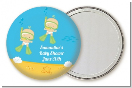 Under the Sea Twin Babies Snorkeling - Personalized Baby Shower Pocket Mirror Favors
