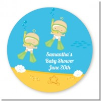 Under the Sea Twin Babies Snorkeling - Round Personalized Baby Shower Sticker Labels