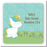 Unicorn | Virgo Horoscope - Square Personalized Baby Shower Sticker Labels