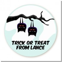 Upside Down Bats - Round Personalized Halloween Sticker Labels