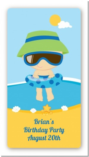 Beach Boy - Custom Rectangle Birthday Party Sticker/Labels