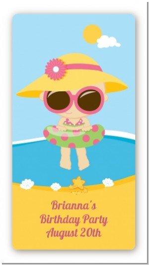 Beach Girl - Custom Rectangle Birthday Party Sticker/Labels