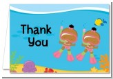 Under the Sea African American Baby Girl Twins Snorkeling - Baby Shower Thank You Cards