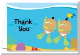 Under the Sea Hispanic Baby Twins Snorkeling - Baby Shower Thank You Cards