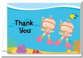 Under the Sea Baby Twin Girls Snorkeling - Baby Shower Thank You Cards