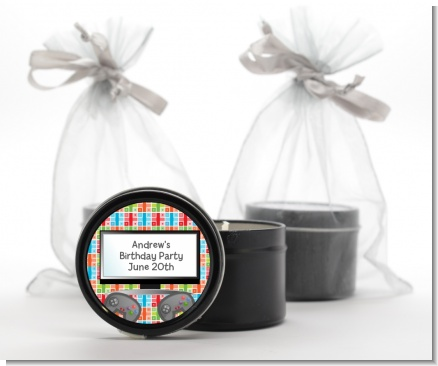Video Game Time - Birthday Party Black Candle Tin Favors