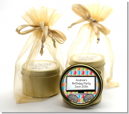 Video Game Time - Birthday Party Gold Tin Candle Favors