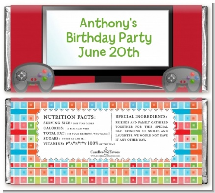 Video Game Time - Personalized Birthday Party Candy Bar Wrappers
