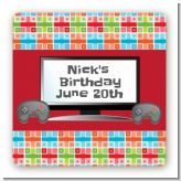 Video Game Time - Square Personalized Birthday Party Sticker Labels