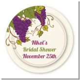 Vineyard Splash - Round Personalized Bridal Shower Sticker Labels
