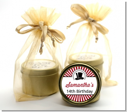 Vintage Magic - Birthday Party Gold Tin Candle Favors