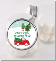 Vintage Red Truck With Tree - Personalized Christmas Candy Jar