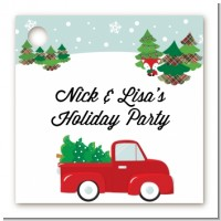 Vintage Red Truck With Tree - Personalized Christmas Card Stock Favor Tags
