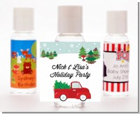Vintage Red Truck With Tree - Personalized Christmas Hand Sanitizers Favors