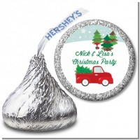 Vintage Red Truck With Tree - Hershey Kiss Christmas Sticker Labels