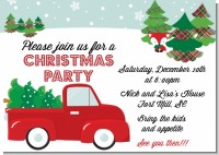 Vintage Red Truck With Tree - Christmas Invitations