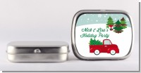 Vintage Red Truck With Tree - Personalized Christmas Mint Tins