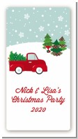 Vintage Red Truck With Tree - Custom Rectangle Christmas Sticker/Labels