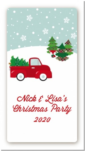 vintage red truck with tree custom rectangle christmas stickerlabels